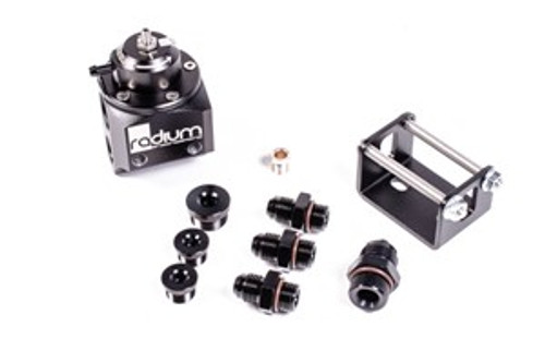 Radium Black Top MPR (Universal Fuel Pressure regulator) -Multi-Port Regulator -Mounting bracket with hardware -Interchangeable return orifices  -6AN ORB plug (x2) -8AN ORB plug (x1) -6AN male adapter (x3) -8AN male adapter (x1)