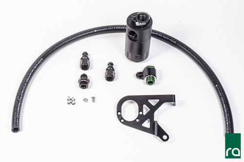 Radium Catch Can Kit, Crankcase, 2016+ Focus RS This catch can runs inline with the crankcase breather port. At low loads it experiences atmospheric pressure, but when the engine is at high load (WOT), this hose will experience high flow out of the crankcase. This would normally lead to oil and sludge accumulation in the air filter intake pipe. Oil accumulation will occur in the intercooler which lowers the thermal efficiency properties of the heat exchanger and leads to decreased performance.