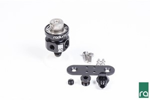 Radium Fuel Pressure Regulator, with 3.0Bar Bosch Top -Billet 6061 Aluminum Housing -6AN Male Adapter Fitting -6AN ORB Plug Fitting -1/8-27 NPT Port Plug -Integrated -6AN Male Return Port -Stainless Steel Mounting Hardware -Stainless Steel Snap Retaining Ring -Anodized Aluminum Mounting Bracket