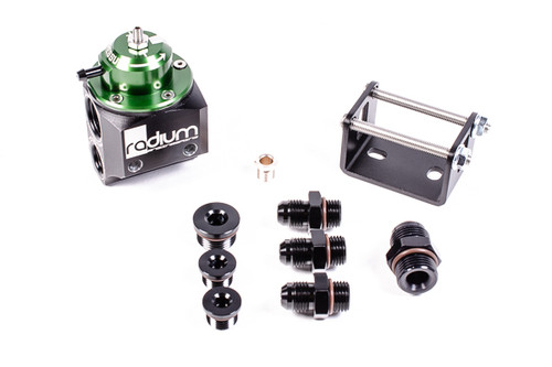 Radium Green Top MPR (Universal Fuel Pressure regulator) INCLUDED -Multi-Port Regulator -Mounting bracket with hardware -Interchangeable return orifices  -6AN ORB plug (x2) -8AN ORB plug (x1) -6AN male adapter (x3) -8AN male adapter (x1)