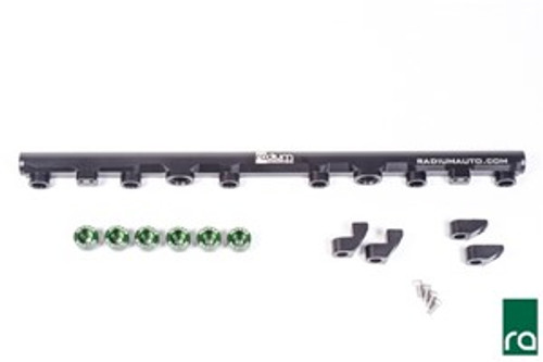 Radium Top Feed Fuel Rail Conversion kit, Toyota Supra 2JZ-GTE INCLUDED: 20-0215 Toyota 2JZ-GTE Fuel Rail:  -Black Anodized Laser Etched Aluminum Fuel Rail -Black Anodized Aluminum Mounting Feet, Tall and Short -Stainless Steel Mounting Feet Bolts (x4) -20-0216-06 Toyota Injector Seat Kit, 6 Cylinder