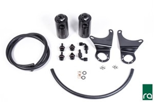 Radium Dual Catch Can Kit, EVO X, 2010-2016 An oil catch can is essential on a performance vehicle to protect the engine from elevated levels of crankcase blow-by accumulated from aggressive driving. Excess oil saturated air circulating back into the air intake stream can lead to degraded performance.   EVO X CATCH CAN KIT DETAILS Radium Engineering offers several completely independent oil catch can kits for the Evo X that are sold individually or together using the menu above. The first type do NOT vent to atmosphere (VTA), thus are emissions and track legal. Closed loop systems route clean filtered air back in through the engine to be burned and to promote negative crankcase pressure for optimal performance. Furthermore, closed systems prevent unwanted oil vapors into the cabin. The Crankcase VTA kit does not recirculate crankcase gasses back through the engine and is intended for race vehicles dealing with a large amount of blow-by gasses.