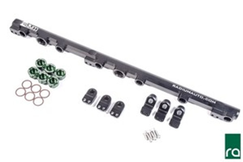 Radium Fuel Rail, Top Feed Conversion, Toyota 1JZ-GTE (Non VVT-i) INCLUDED: 20-0235 Toyota 1JZ-GTE Fuel Rail:  -Black Anodized Laser Etched Aluminum Fuel Rail -Black Anodized Aluminum Mounting Feet, Tall and Short -Stainless Steel Mounting Feet Bolts (x6) -20-0216-06 Toyota Injector Seat Kit, 6 Cylinder