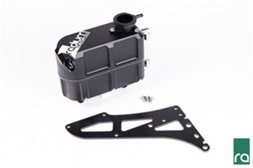 "Radium Coolant Expansion Tank, Universal Includes: -Billet Aluminum Coolant Tank -Anodized Aluminum Mounting Bracket  -6AN Male Adapter Fittings (x3) -6AN 90 degree Push-Lok Hose Ends (x3) -Nickel-Plated Fittings and Sight Tube  -Billet Aluminum 32mm Pressure Cap Receiver -Aluminum Pressure Bleed 1/4"" Barb -Stainless Steel Hardware  Mounting:  A laser cut black powercoated laser cut mounting bracket is included."