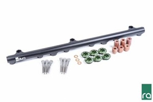 Radium Fuel Rail, Top Feed Conversion, Nissan RB25DET Included -Black Anodized Aluminum Fuel Rail -Phenolic Mounting Bolt Spacers, Short (x3) -Phenolic Mounting Bolt Spacers, Tall (x3) -Phenolic Mounting Bolt Washers (x3) -Radium 20-0161-06, 25mm Injector Seats -Stainless Steel Mounting Bolts, Short (x3) -Stainless Steel Mounting Bolts, Tall (x3)