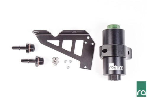 Radium Fuel Filter Kit, Focus RS, Stainless, 10 Micron Included -Billet Aluminum Fuel Filter (selectable element) -Billet Aluminum 2-Piece Clamp -Billet Aluminum SAE Male Fittings -Aluminum Mounting Bracket  -Stainless Steel Hardware