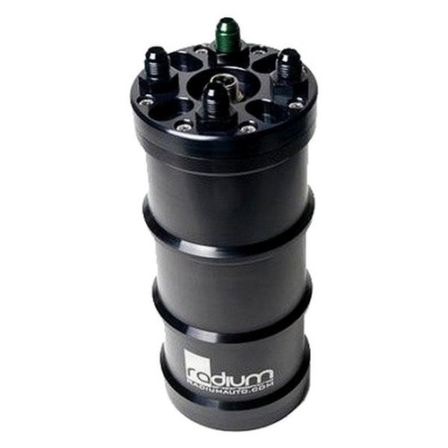 "Radium Std. Fuel Surge Tank, Single AEM 50-1200 E85, Pump Not Included All Fuel Surge Tanks Include: -Extruded and Machined Aluminum 1.5 Liter Canister -Bright Dipped Anodized and Laser Engraved Housing -Removeable O-Ring Sealed Billet Aluminum Caps  -6AN O-Ring Fittings (8AN can be purchased separately) -Circular Bulkhead Electrical Connector with 24"" Flying Leads -Corrosive Resistant Stainless Steel Hardware All pumps mount internally using gasoline, ethanol, and methanol resistant wiring. For dual-pump configurations, each pump is wired independently. All hoses are submersible and E85 safe. The pump outlet fitting(s) are available in -6AN male size only (shown in green).Std. Fuel Surge Tank, Single AEM 50-1200 E85, Pump Not Included"