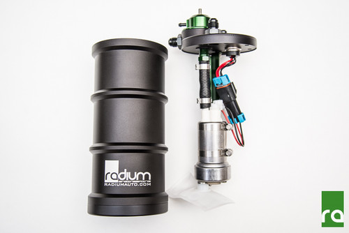 "Radium E85 FST-R, Fuel Surge Tank with Integrated FPR Radium FST-R Features -Full CNC aluminum construction with O-ring sealed interfaces  -Anodized for compatibility with all fuel types -Integrated adjustable fuel pressure regulator with 1:1 vacuum reference -Interchangeable regulator orifice sizes to match output of different pumps -Nickel-Plated Electrical Connector with 24"" Flying Leads -Assembled with stainless steel hardware  -Three 6AN male fittings (8AN can be purchased separately)"
