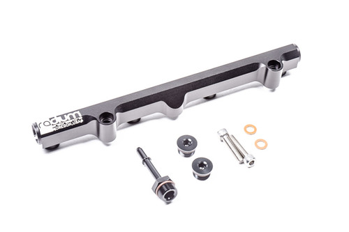 """Radium Fuel Rail Kit, Honda K-Series This kit is a bolt-on plug and play replacement for the OEM fuel rail. The extended SAE quick connect inlet clear the OEM coolant hose (if equipped). Included: -Black Anodized Laser Etched Aluminum Fuel Rail -Stainless Steel Mounting Hardware -Phenolic Thermal Insulating Washers -8AN ORB Male to 5/16"""" SAE Male Fitting  -8AN ORB Plug (x2)"""