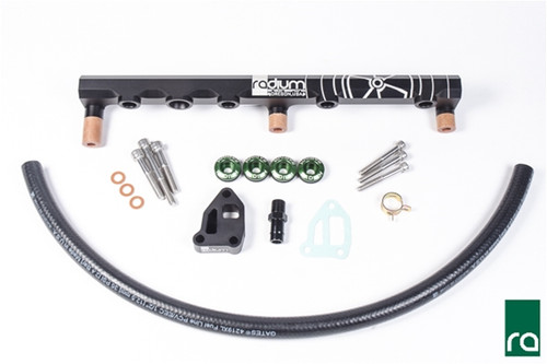 Radium Fuel Rail, Top Feed Conversion, Nissan SR20DET (S14/S15) INCLUDED:  All parts listed below are included for a trouble and leak-free installation.  -Black Anodized Aluminum Fuel Rail -Phenolic Mounting Bolt Spacers (x3) -Phenolic Mounting Bolt Washers (x3) -Radium 20-0161, Green Anodized Aluminum 25mm Injector Seats (x4) -Radium 20-0162, Black Anodized Aluminum IACV Spacer Kit -Radium 18-0014, IACV Gasket, SR20DET S14/S15 (x1) -Black Anodized Aluminum IACV Barb Adapter  -Rubber Hose and OEM Clamp for IACV -Stainless Steel M8x1.25 Mounting Bolts (x3) -Stainless Steel M6x1 Mounting Bolts (x3)