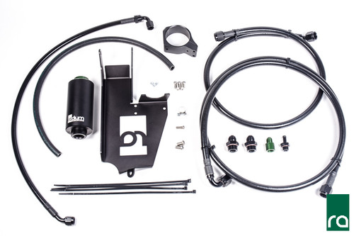 Radium Fuel Hanger Plumbing Kit, EVO 8-9, Stainless Filter The plumbing kits include everything required to connect directly to an aftermarket (-8AN male) fuel rail and (-6AN male) FPR for both single and dual pump configurations.  This includes a pre-made PTFE -8AN feed line from the hanger up to the engine bay and the kit re-uses the factory feed line as the regulator return line.