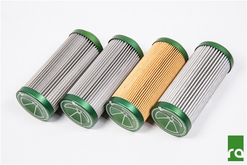 Replacement Filter, Stainless, 10 Micron All replacement elements for the Radium fuel filter use anodized aluminum end caps that are laser engraved for easy identification and use an internal Viton O-ring for compatibility with all fuel types.