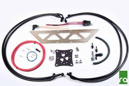 Radium Fuel Surge Tank Install Kit, EVO 8-9 EVO 8-9 FST Install Kit Features:  -Preassembled -6AN PTFE Hoses  -Aluminum Mounting Brackets -AN and OEM Style Adapter Fittings -Stainless Steel Hardware  -Barricade Hose, non-permeating  -Wiring Components with Relay and Fuse -Solderless Heat Shrink Connectors