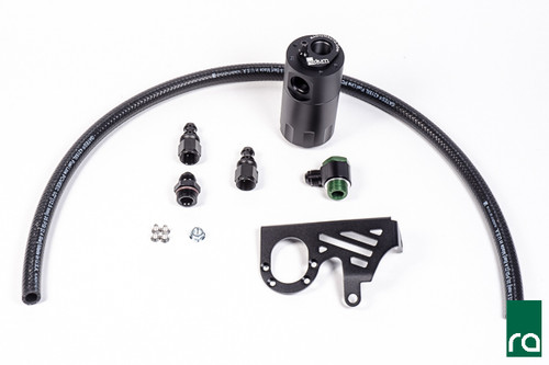 Radium Catch Can Kit, Crankcase, 2013+ Focus ST Each kit includes the following:  -Anodized oil catch can with integrated condenser and dipstick -Anodized laser cut Focus specific mounting bracket -Anodized aluminum -AN adapter fittings and hose ends -Enough PCV hose for custom applications   -Stainless steel mounting hardware