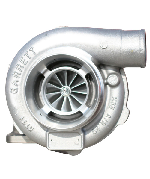 """Supercore GTX3076R - Forged, fully-machined 11-blade billet compressor wheel. Ceramic Dual Ball bearing. Ported shroud compressor housing to increase surge resistance. Compressor side: TRIM 58 A/R 0.60. Compressor Air Inlet: 4.00"""". Compressor Air Outlet: 2.00"""". Turbine side: TRIM 84. Sold without turbine housing"""