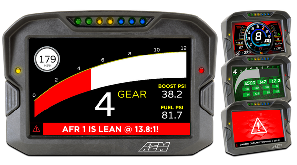 "AEM Digital Display CD-7 non-logging race dash, CAN input only, 7-inch diagonal screen, carbon fiber enclosure, wiring harness included. CD-7 CARBON FEATURES:  Full color 7"" screen with 800x480 resolution Direct sunlight readable (1000cd/m2 brightness and anti-glare filter) Layout files interchangeable with all versions of the CD-5 Carbon Wiring interface/harness is identical to the CD-5 Carbon Rugged, lightweight flow-molded carbon fiber composite enclosure Total display weight of 20.9 oz. / 595 grams IP65 water resistance - open cockpit, marine and motorcycle safe Accepts channels from two separate user programmable CAN bus connections – works with AEMnet enabled devices and non-AEM 3rd party devices side by side Plug & Play Adapter Cables available for Holley, Link, MSD Atomic and Vi-Pec ECUs Accepts channels from 2008-up factory ECUs using Plug & Play OBDII CAN Adapter Cable (PN 30-2217, sold separately) Install the CD-7 Carbon on carbureted and pre-2008 stock ECU-equipped vehicles using a 22 Channel CAN Sensor Module (PN 30-2212, sold separately) Available with or without 200Mb internal logging (up to 1,000Hz/channel) Available with or without on-board 20Hz GPS receiver and antenna Add a Vehicle Dynamics Module for GPS, 3-axis gyroscope and 3 axis accelerometer for G-loads, roll, pitch, yaw, track mapping and lap timing (PN 30-2206, sold separately) Add an 8 Channel K-Type EGT CAN Module for 8 additional temps via AEMnet CAN bus (PN 30-2224, sold separately) Seven programmable pages including four Main pages, Alarm, On-Change and Start-up pages Dedicated Alarm page quickly identifies problems, programmable in almost any language! (user defined) Unique On-Change page can be used to identify map switching for boost, traction, lap times, etc. Use included page layouts and input your channels and text, or create your own from scratch Free DashDesign Graphics Editor software Seven LED RPM/shift light indicators on top of the housing (programmable and dimmable) Two programmable LEDs Odometer function Over 200 supplied fully programmable SAE and custom warning icons, and you can add your own 'Headlight-in' connection dims the dash and LEDs during night operation Two extra switch inputs included for displaying user-triggered events (blinkers, high beams etc.) User supplied graphics can be changed based on channel values (up to the full screen size) Convert CAN bus channel values to user-defined text in multiple languages"