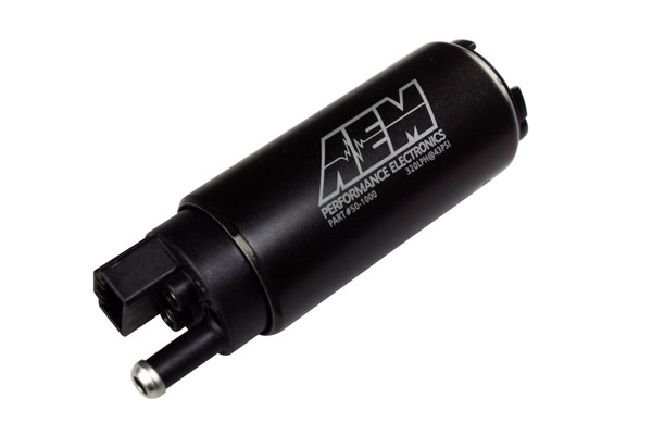 AEM 340lph High Flow In-Tank Fuel Pump (Offset Inlet, Inline) . 340lph@43psi. Includes Fuel Pump, installation instructions, wiring harness, pre filter, internal fuel hose & clamps, end cap and rubber buffer sleeve. Included hardware is not application specific. Designed for high output naturally aspirated and forced induction EFI vehicles In tank design Tested to flow 340 lph @ 40 PSI 39mm diameter fits most applications Offset inlet design eases installation Each pump individually tested For gasoline vehicles Kit includes fuel pump, rubber sleeve and end caps, pre filter, hose, clamps and flying lead