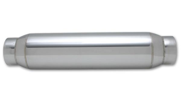 "Vibrant Performance Bottle Style Resonator, 3"" inlet/outlet x 18"" long 304 Stainless Steel Inlet Diameter: 3.00"" Outlet Diameter: 3.00"" Resonator Size: 4.00"" Round Body Overall Length: 18"""