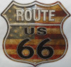 Route 66 Antique Stars & Stripes Metal Sign (Made in USA)