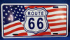 Route 66 USA Flag License Plate