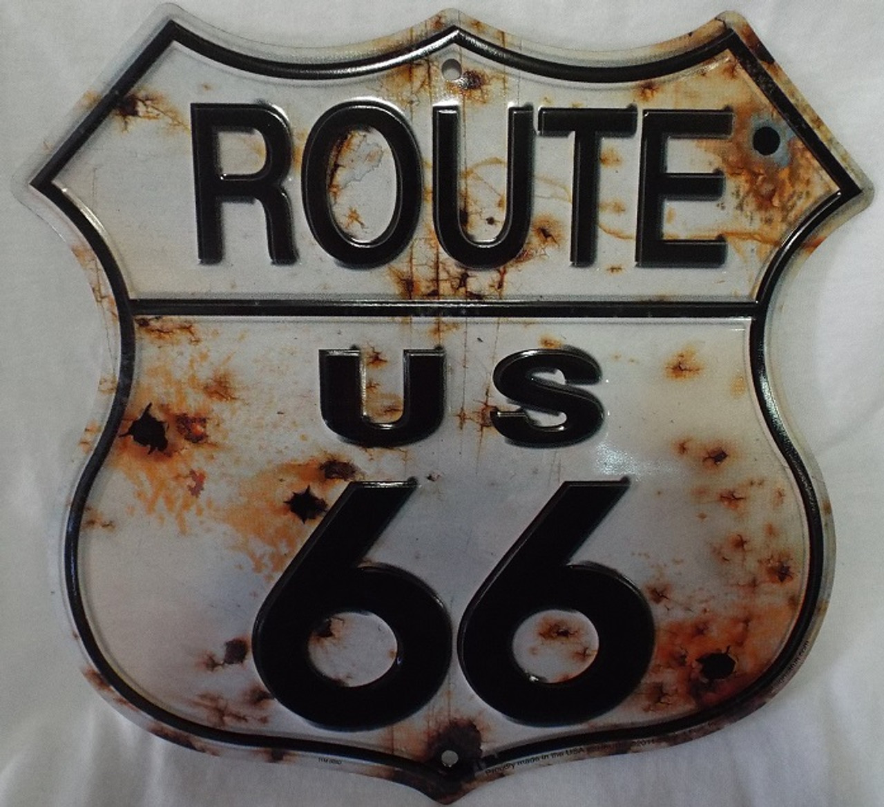 Route 66 Patch Highway Sign Iron on Rust with Bullet Holes
