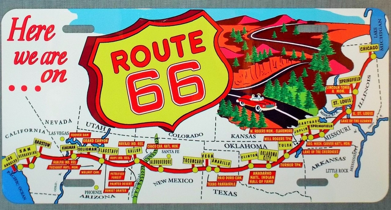 Vintage Route 66 Map License Plate on map wall decor metal art, map made of books, map white on white art, map made of tools, map of united states license, map made of paper, map made of flowers, map made of buttons,