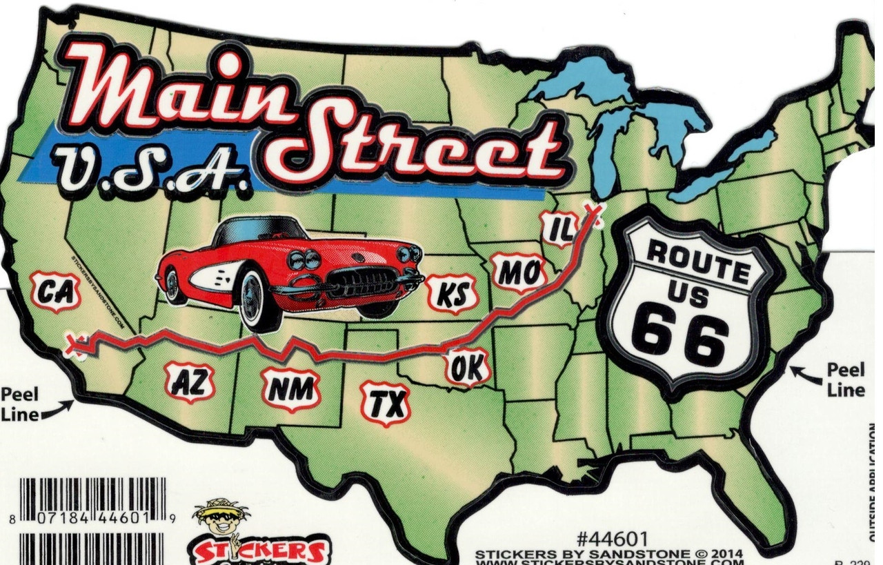 Map Of America Showing Route 66.Route 66 Usa Map Sticker