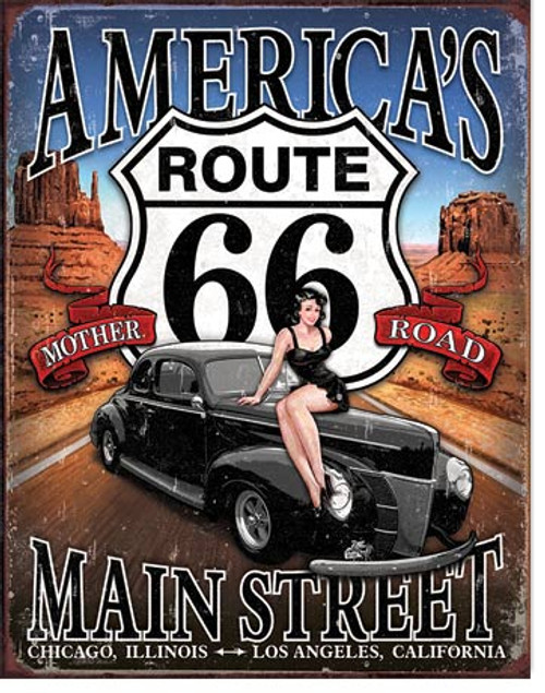 Route 66 America's Main Street Tin Sign Art