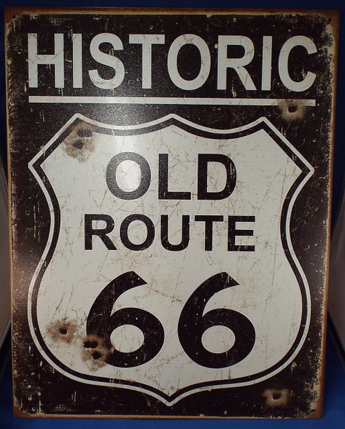Weathered Historic Old Route 66 Tin Sign Photo
