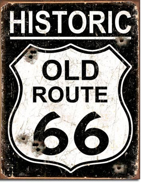 Weathered Historic Old Route 66 Tin Sign Art