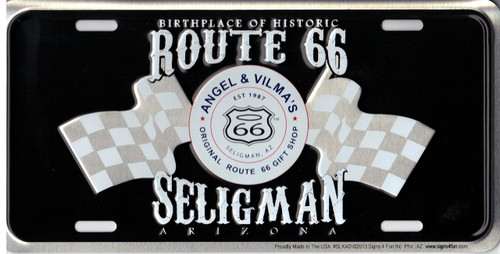 Angel & Vilma's Route 66 Gift Shop Checkered Flags License Plate