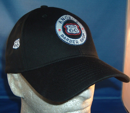 Angel's Route 66 Barber Shop Made in USA baseball cap with 66 halo on side