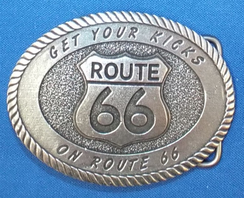 Oval Get Your Kicks on Route 66 Pewter Belt Buckle (Made in the USA)