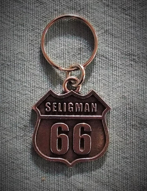 Seligman Route 66 Pewter Key Chain