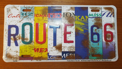 front of Route 66 All 8 States Collage License Plate