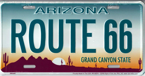 Arizona Grand Canyon State Route 66 License Plate