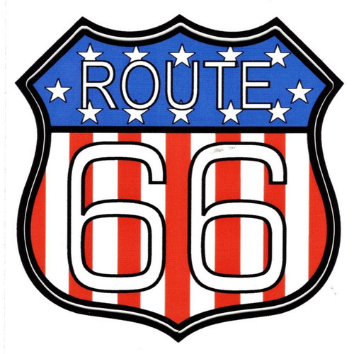 Patriotic Route 66 Sticker (Made in the USA)