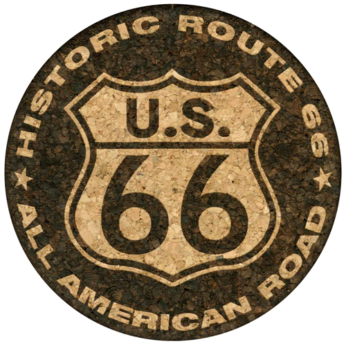 U.S. 66 Historic Route 66 All American Road Cork Coaster (dark version)