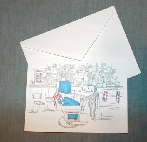 Angel's Barber Shop Collector's Card with Envelope