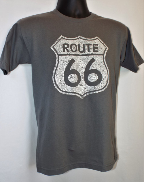 Gray Route 66 Cities Shield Mens T-Shirt