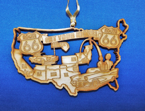 Get Your Kicks on Route 66 Wood Ornament (Made in the USA)