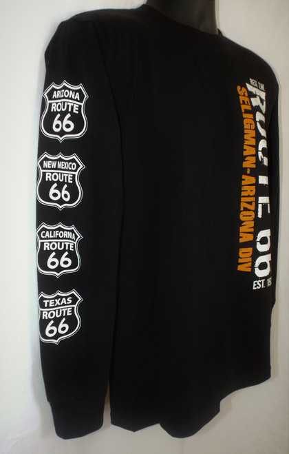 ROUTE 66 SELIGMAN AZ Long Sleeve Shirt with Shields on arm