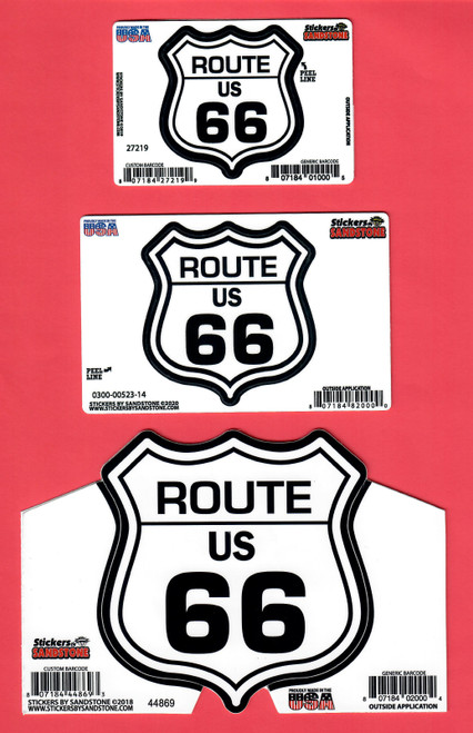 Route 66 Shield Stickers: mini, small, and large