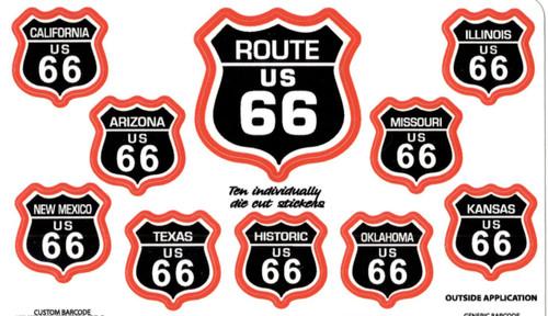 Route 66 10 Sticker Set in Black