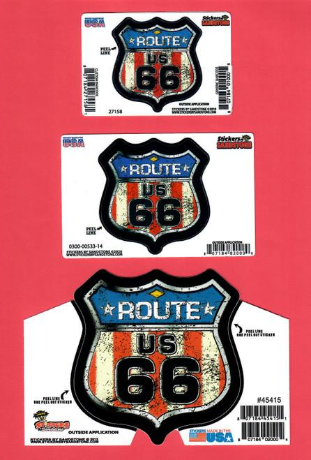Mini, Small, and Large Antique Flag Route 66 Stickers