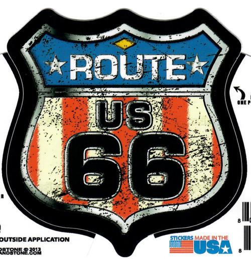 Antique Flag Roue 66 Shield Sticker