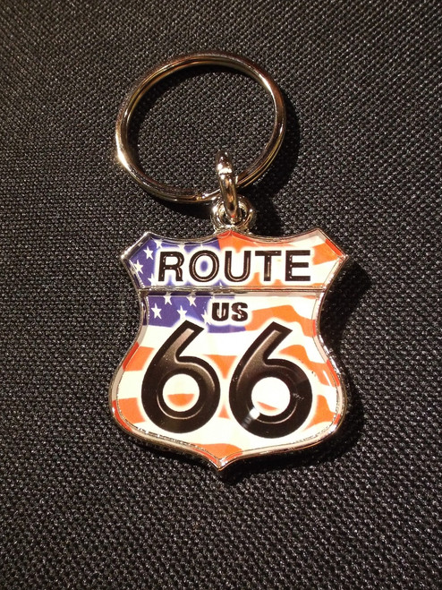 Route 66 Keychain with American Flag