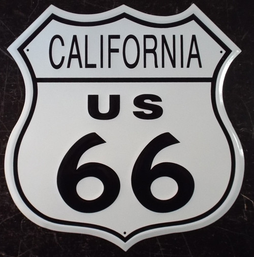 Metal California Route US 66 Sign