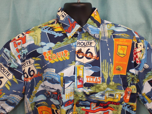 Route 66 Landmarks Aloha-Style Shirt (Close-up)