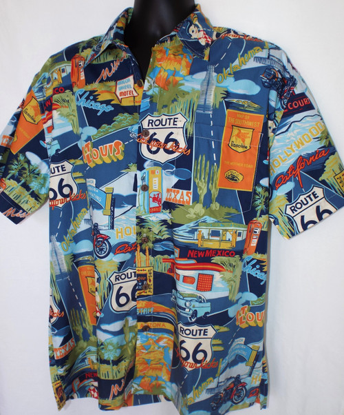 Route 66 Landmarks Aloha-Style Shirt
